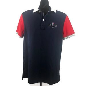Tommy Hilfiger Mens Blue/Red Performance Mesh Polo